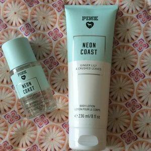 VS pink body lotion & body mist set
